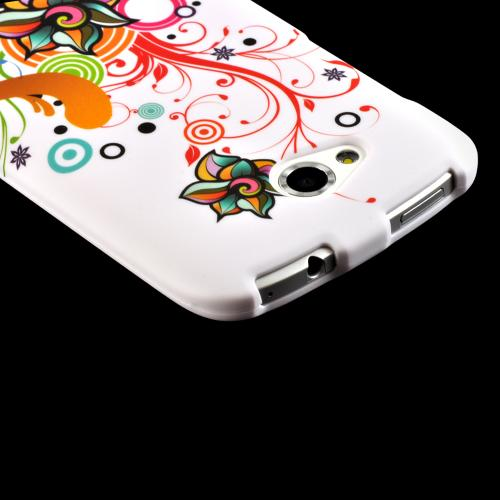 Autumn Floral Burst on White Hard Case for HTC One VX