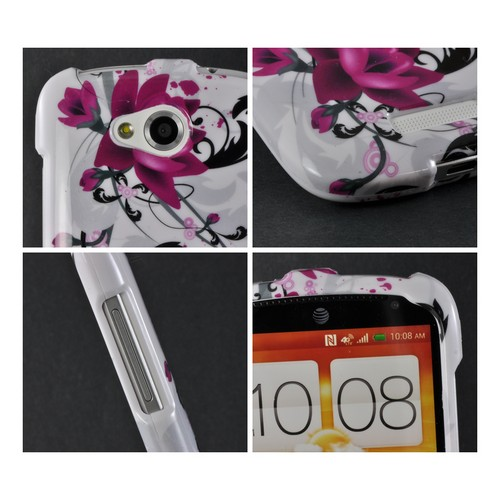 Magenta Flowers & Black Vines on White Hard Case for HTC One VX