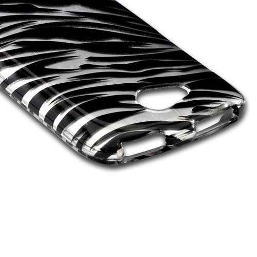 Silver/ Black Zebra Hard Case for HTC One VX