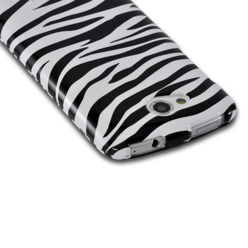 White/ Black Zebra Hard Case for HTC One VX