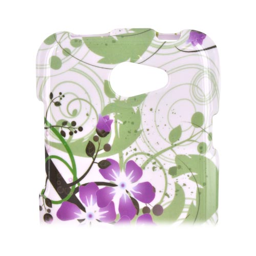 HTC One X Hard Case - Purple Lily on Green/ White