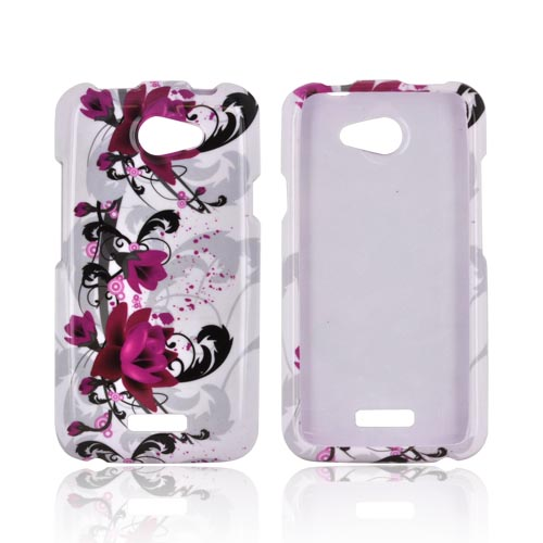 HTC One X Hard Case - Magenta Flowers & Black Vines on White