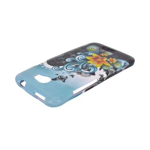 HTC One X Hard Case - Yellow Lily w/ Swirls on Turquoise/ Black