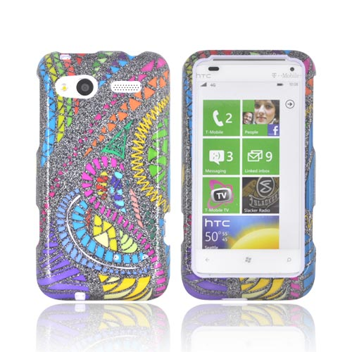 HTC Radar 4G Hard Case - Jamaican Fabric w/ Silver Sparkle