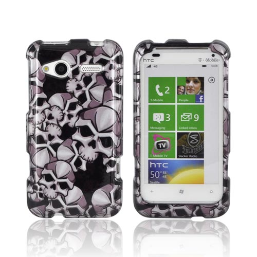 HTC Radar 4G Hard Case - Silver Skulls on Black
