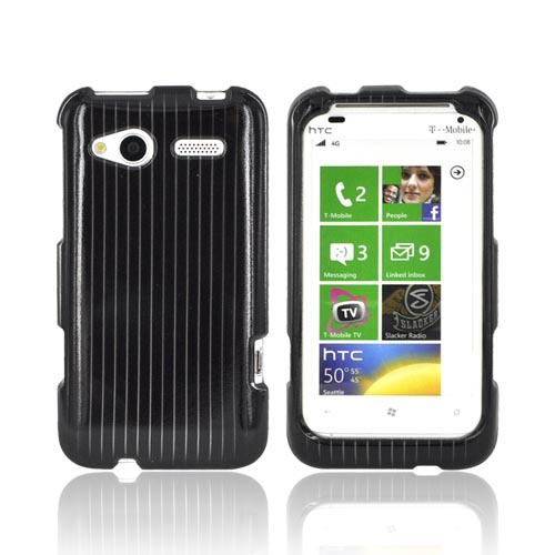HTC Radar 4G Hard Case - Silver Lines on Black