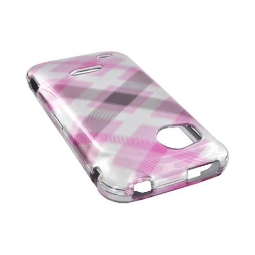 HTC Rezound Hard Case - Baby Pink Plaid on Silver