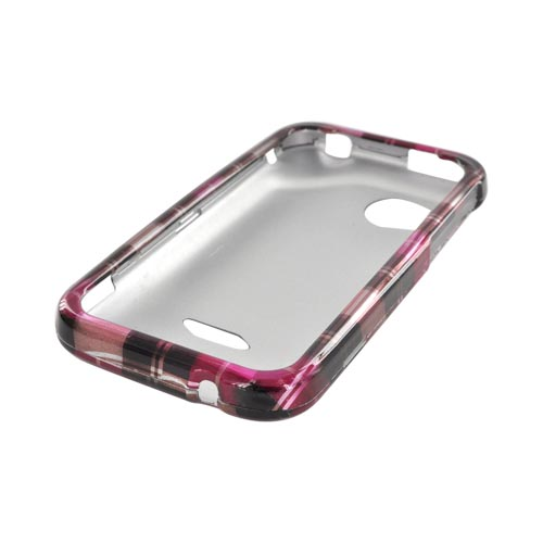 HTC Rezound Hard Case - Plaid Pattern of Pink, Hot Pink, Brown, & Silver