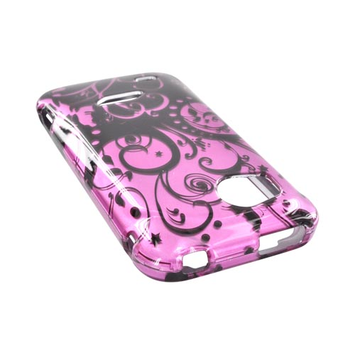 HTC Rezound Hard Case - Black Swirl Design on Purple