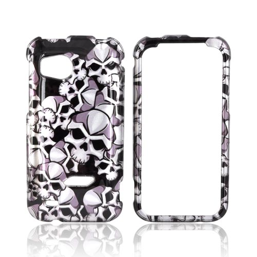 HTC Rezound Hard Case - Silver Skulls on Black