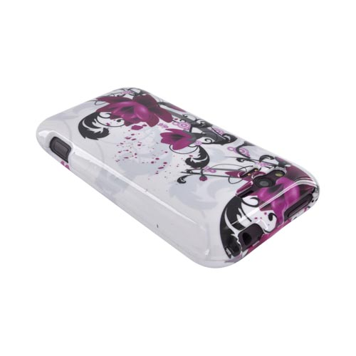 HTC Rhyme Hard Case - Pink Flowers on White