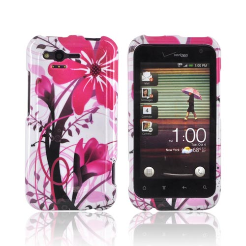 HTC Rhyme Hard Case - Pink Flower Splash on White