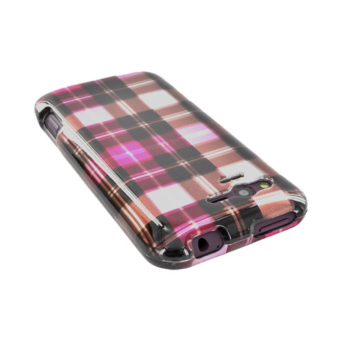 HTC Rhyme Hard Case - Plaid Pattern of Pink, Hot Pink, Brown, & Silver
