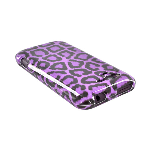 HTC Rhyme Hard Case - Purple/ Black Leopard