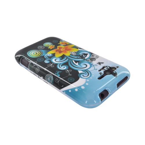 HTC Rhyme Hard Case - Yellow Lily & Swirls on Turquoise/ Black