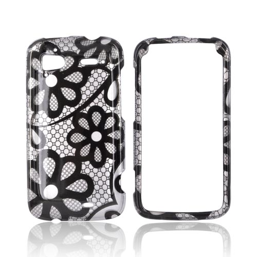 HTC Sensation 4G Hard Case - Black Flower Lace on Silver