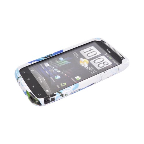 HTC Sensation 4G Hard Case - Blue Flower Splash on White