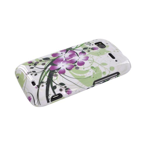 HTC Sensation 4G Hard Case - Purple Lilly on Green/ White
