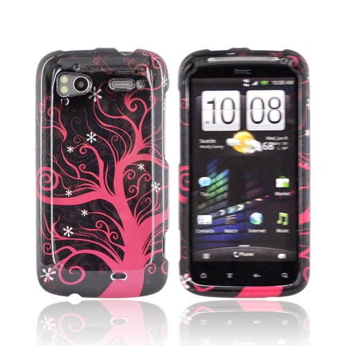 HTC Sensation 4G Hard Case - Hot Pink Tree on Black