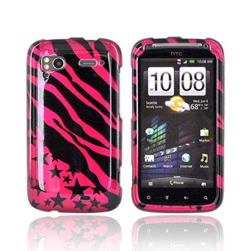 HTC Sensation 4G Hard Case - Black Zebra & Stars on Hot Pink