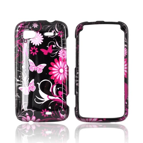 HTC Sensation 4G Hard Case - Pink Butterflies & Flowers on Black