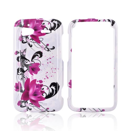 HTC Sensation 4G Hard Case - Pink Flowers & Black Vines on White