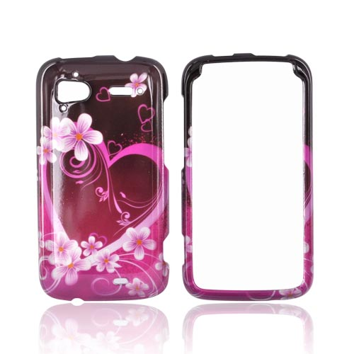 HTC Sensation 4G Hard Case - Pink Hearts & Flowers on Red/Pink