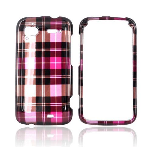 HTC Sensation 4G Hard Case - Hot Pink/ Pink/ Brown Plaid on Silver