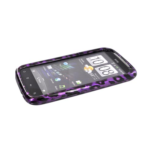 HTC Sensation 4G Hard Case - Purple/ Black Leopard