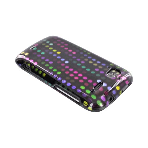 HTC Sensation 4G Hard Case - Rainbow Falling Dots on Black