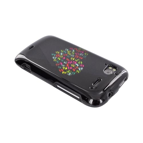 HTC Sensation 4G Hard Case - Rainbow Skulls Heart on Black