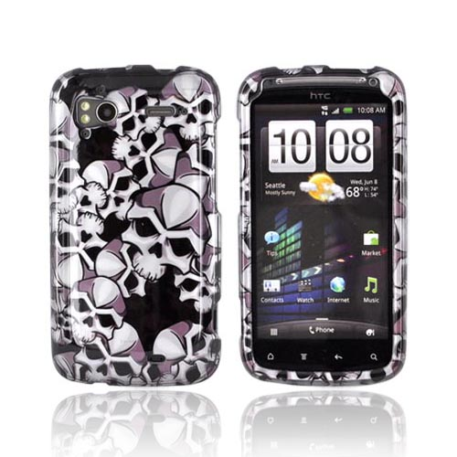 HTC Sensation 4G Hard Case - Silver Skulls on Black