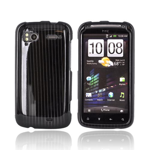 HTC Sensation 4G Hard Case - Silver Lines on Black