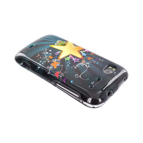 HTC Sensation 4G Hard Case - Star Blast & Butterflies on Teal/ Black