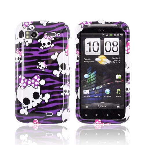 HTC Sensation 4G Hard Case - White Skulls on Purple Zebra