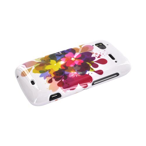 HTC Sensation 4G Hard Case - Colorful Water Flowers on White