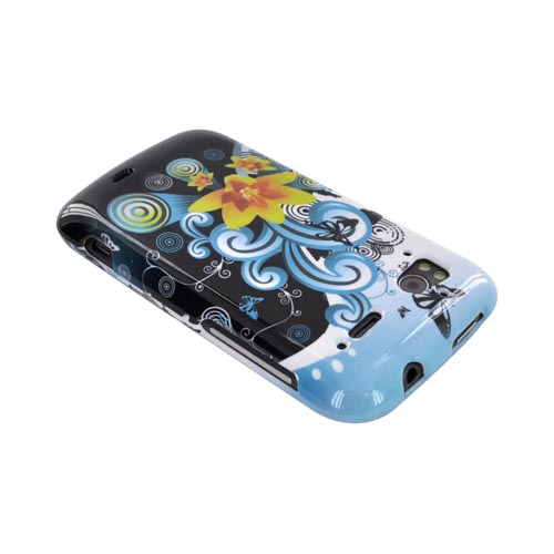 HTC Sensation 4G Hard Case - Yellow Lilly & Swirls on Turquoise/Black