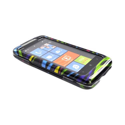 HTC Surround T8788 Hard Case - Rainbow Zebra on Black