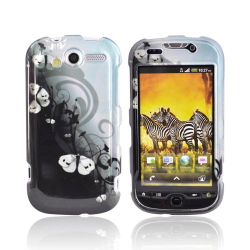 T-Mobile MyTouch 4G Hard Case - White Butterflies Design on Black
