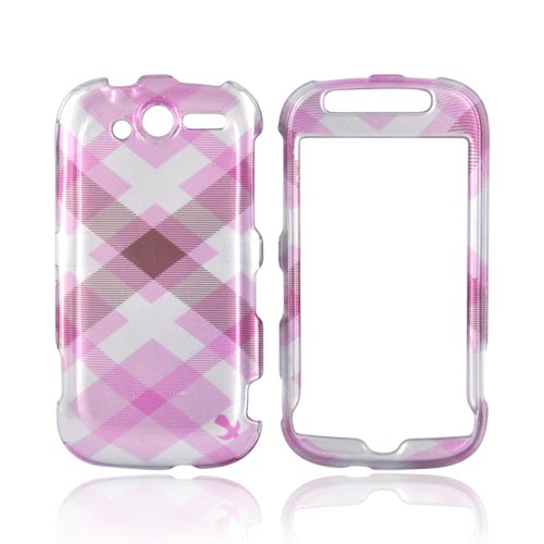 Luxmo T-Mobile MyTouch 4G Hard Case - Pastel Pink/Silver Checkered Pattern