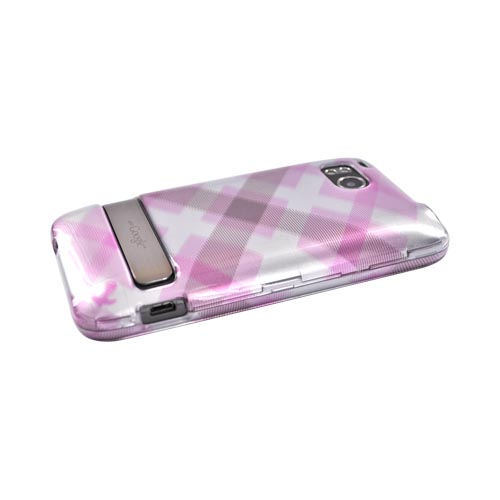 HTC Thunderbolt Hard Case - Pastel Pink/Silver Checkered Pattern