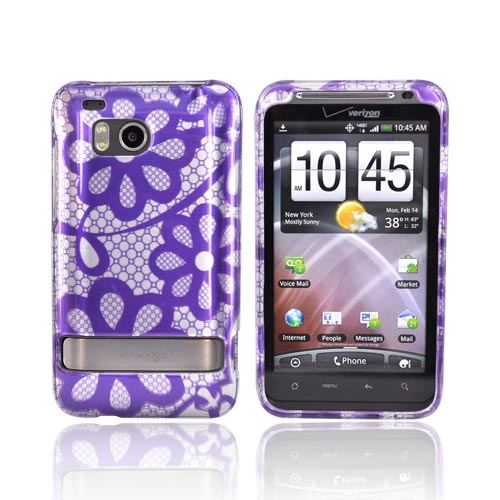 HTC Thunderbolt Hard Case - Purple Flower Lace on Silver