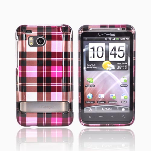 HTC Thunderbolt Hard Case - Plaid Pattern of Hot Pink, Brown, Silver