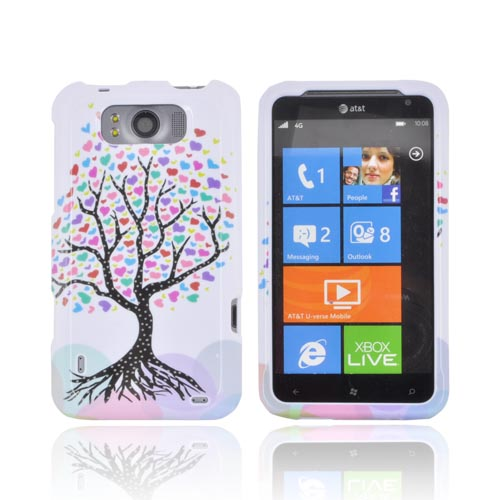 HTC Titan Hard Case - Black Tree w/ Multi-Colored Hearts on White