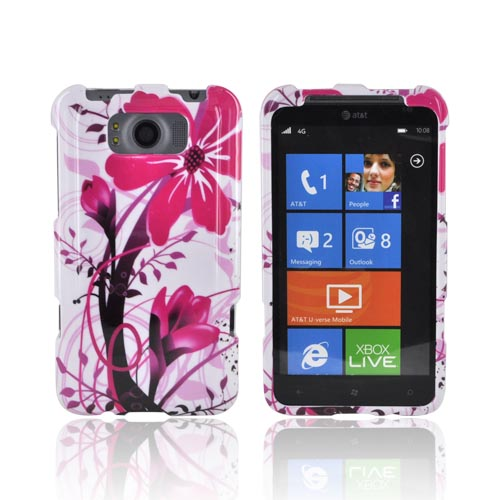 HTC Titan Hard Case - Pink Flower Splash on White