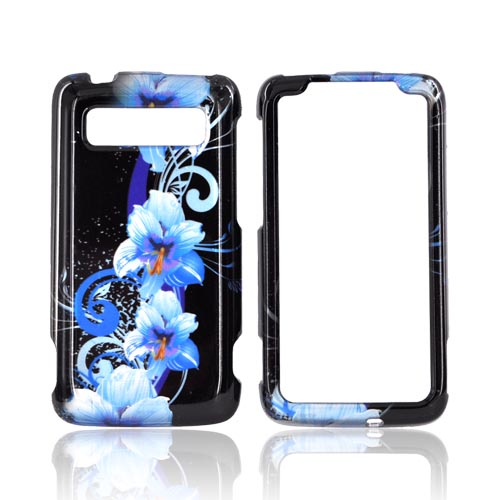 HTC Trophy Hard Case - Blue Flowers on Black