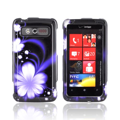HTC Trophy Hard Case - Purple Flower on Black