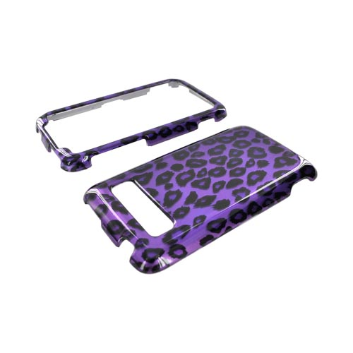 HTC Trophy Hard Case - Purple/Black Leopard