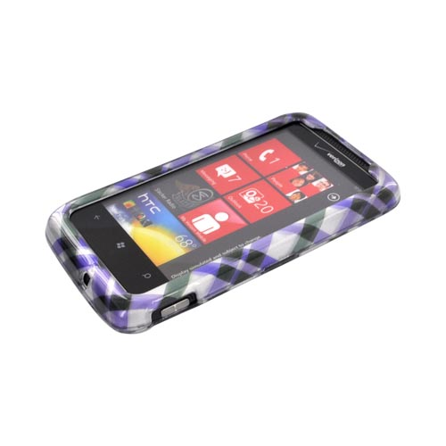 HTC Trophy Hard Case - Purple/ Green Plaid on Silver