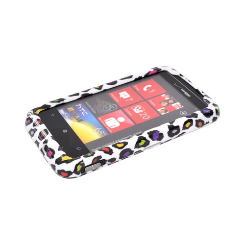 HTC Trophy Hard Case - Rainbow Leopard on White
